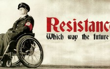 The installation poster shows an image from Resistance on the Plinth, Liz Crow seated on her wheelchair dressed in Nazi uniform, looks out to meet the viewer's gaze. The image is monochrome, the figure set to the far left of the poster, against a wild sky backdrop, only the swastika armband picked out in red. The word 'Resistance', in the same red, is bold on the remaining space of the poster, with the subtitle 'Which way the future?' in black.
