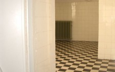 A photograph taken through the doorway into a medium sized room with white tiled walls and black and white chequered floor. A narrow green pipe runs across the ceiling to a shower head. On the wall is a radiator and a round fisheye mirror which reflects back the whole space to those outside the room.
