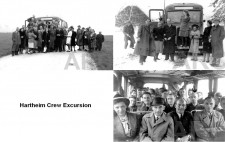 A monochrome archive postcard entitled 'Hartheim Crew Excursion' shows photographs of staff in civilian clothes looking relaxed. In one image, a group of about thirty staff, young and middle-aged, are grouped around the front of a bus in open countryside before they board. A second group shows a smaller group in front of the bus, with others boarded, and snow on the ground. The third image shows the bus crammed with staff, looking towards the camera for a holiday snap.