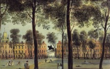 A colour-tinted print show the Square, with gravel paths cutting through expanses of grass and bordered by mature trees and elegant Georgian houses. People stroll, play and recline leisurely in the grounds. In the centre is a raised statue of a figure on horseback.