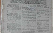 A full page from a newspaper. Above three long columns of text, a headline 'Trial and Execution of Clark, Davis, Gregory, and Kayes for Riot and Arson,' the executions having taken place that morning in front of Bristol New Gaol. The headline is followed by an illustration of the four men hanging from a gibbet above the gaol gates set into a high brick wall, a large crowd gathered below.