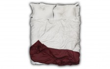 A two-dimensional image of an empty bed, photographed and mounted onto a white background, white quilt, & pillows with imprint from a head.