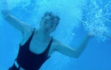 An underwater image of Walter having just dived into the pool.