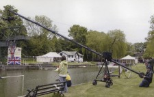 At the lake side, Dave sets up the long arm of the jib ready to shoot the moment in the big race when Walter (Jacob Casselden) makes his big decision.