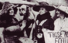 A newspaper cutting shows Helen and Annie standing by a motor car, with Franklin Ardeff and Miss Margaret Vail, all smiling, and with Helen's dog Sieglinda. Miss Vail holds a poster reading 'Those not for Equity - only 27 (guaranteed harmless spirits back)'