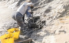 A member of the team digs with a space into a high bank of mud, two yellow tubs next to her, part-way to being filled.
