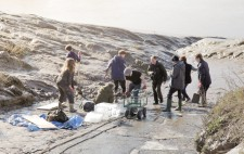 A hive of activity with nine members of the production crew at the bottom of the slipway.